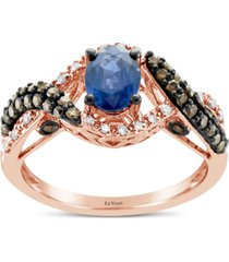 le vian blueberry sapphire (5/8 ct. t.w.) & diamond (1/2 ct. t.w.) ring in 14k rose gold