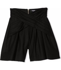 balmain black virgin wool-blend shorts