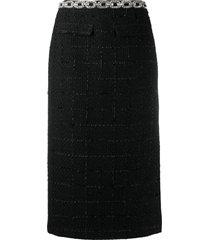 blumarine crystal-belt knit skirt - black