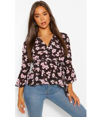 bloemenprint wikkel blouse met strik, zwart