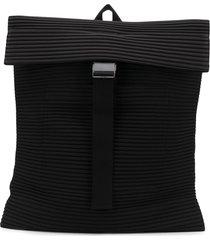 homme plissé issey miyake pleated rectangular backpack - black