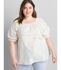 lane bryant women's metallic-stripe puff-sleeve shirred top 34/36 metallic multi stripe