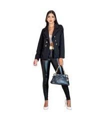 blazer feminino alfataria acinturado manga longa elegante moderno chique top venda preto