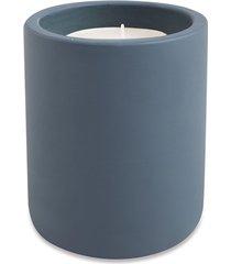 vela decorativa redonda com suporte em cimento 12x8cm azul