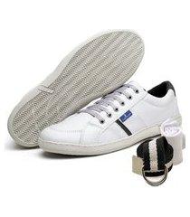kit sapatenis cinto e meia polo blu costura manual branco
