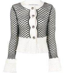alexander wang layered mesh cropped jacket - white