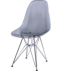 cadeira dkr policarbonato e base de metal huron – fumê