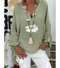 camicetta manica lunga scollo a v stampata floreale margherita