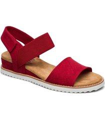 womens bobs - desert kiss shoes summer shoes flat sandals röd skechers