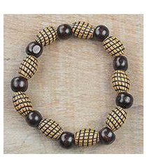 wood and recycled plastic beaded stretch bracelet, 'good spirals' (ghana)