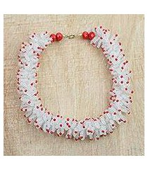 recycled plastic beaded necklace, 'red coral' (ghana)