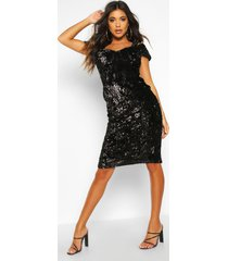 velvet sequin cupped off the shoulder midi dress, black
