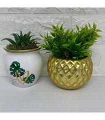 conjunto de vaso dourado e vaso com estampa de costela de adã£o - dourado - feminino - dafiti
