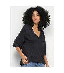 blusa cantão gola v camadas manga 3/4 feminina
