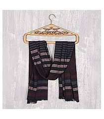 cotton shawl, 'subdued stripes' (india)