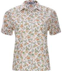 camisa con recogido flores naranjas color blanco, talla 10
