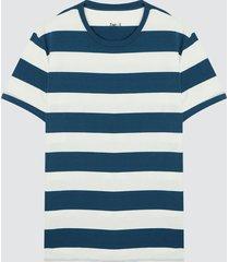 camiseta para hombre a franjas color blanco, talla l