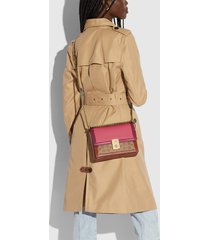 coach women's signature colorblock hutton shoulder bag - tan rouge multi