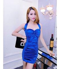 pf091 sweet neck halter wrinkle dress, free size, blue