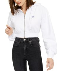true religion cropped zip-front hoodie