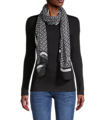 calvin klein women's chain-print scarf - black white