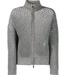 peserico metallic open-knit cardigan - grey