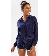 ivine collared pullover lounge sweatshirt - navy