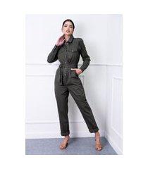 macacão sisal jeans utilitário verde militar