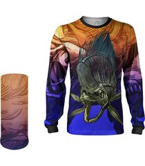 camisa + máscara pesca quisty dourado do mar skull fishing proteção uv dryfit infantil/adulto - camiseta de pesca quisty