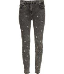 skinny jeans met logoborduursels ray  grijs