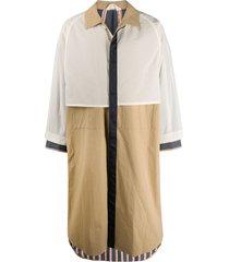 kazuyuki kumagai panelled duster coat - neutrals