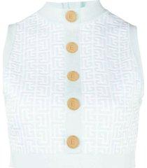 monogram knit top