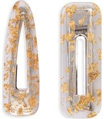 amaro feminino kit presilha de cabelo resina, dourado