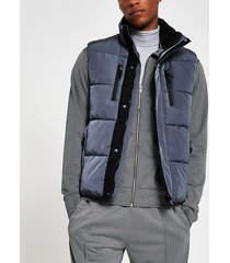river island mens blue padded double pocket puffer gilet
