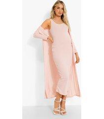zwangerschap mouwloze midaxi jurk met laag decolleté en duster jas, pink
