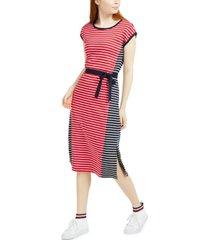 tommy hilfiger colorblocked striped cotton midi dress