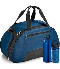 kit bolsa esportiva gym com 3 peças topget azul escuro