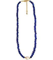 colar chocker pedra natural semijoia banho de ouro 18k agata azul bic e perola - feminino