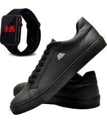 sapatênis sapato casual com relógio led dubuy t10db preto
