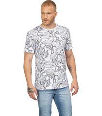camiseta masculina folhas pb branco - branco - masculino - dafiti