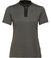 turf zip ss women t-shirts & tops polos grå peak performance