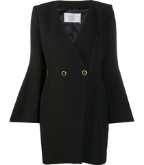 elisabetta franchi bell-sleeved double breasted mini dress - black