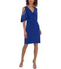 msk embellished-sleeve cold-shoulder sheath dress