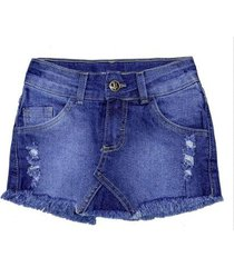 shorts saia jeans infantil look jeans feminino