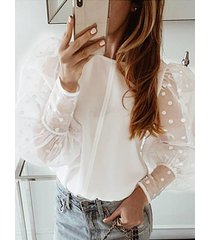 blusa de manga abullonada de lunares con empalme de malla de organza