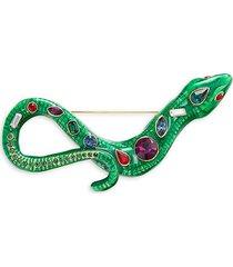 kenneth jay lane women's 22k goldplated & glass snake brooch