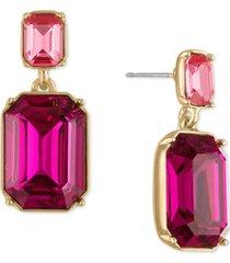 rachel rachel roy gold-tone pink stone double drop earrings