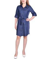 women's 3/4 sleeve roll tab denim dress