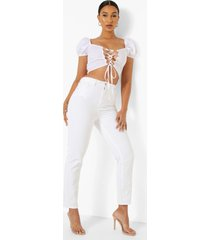 high rise mom jeans, white