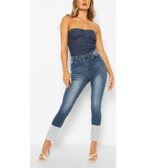 high waist stretch skinny jeans, mid blue